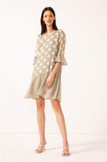 Sukienka w grochy z paskiem