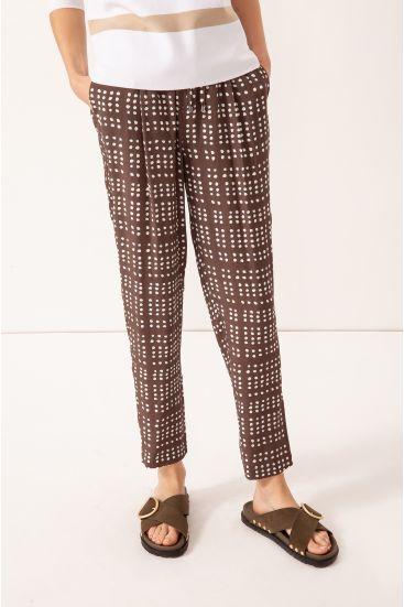 Wiązane spodnie z wiskozy