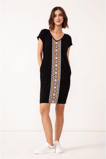 Wiskozowa sukienka z kieszeniami