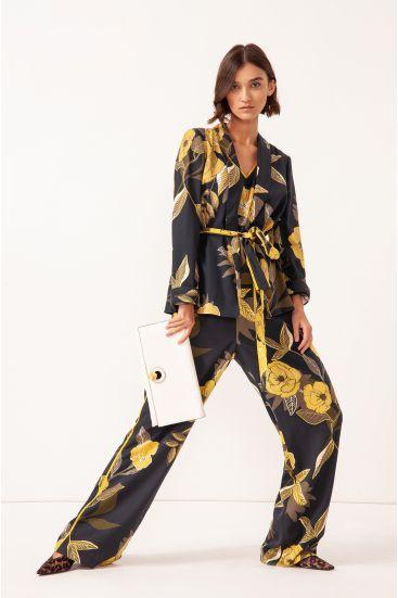 Spodnie typu palazzo z paskiem