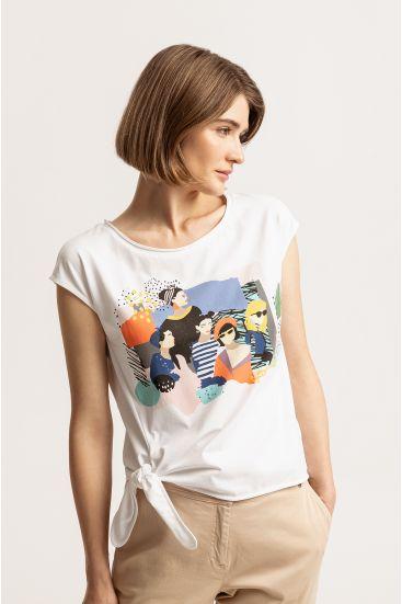 T-shirt z wiązaniem