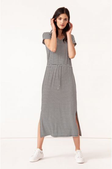 Sukienka midi w drobne paski