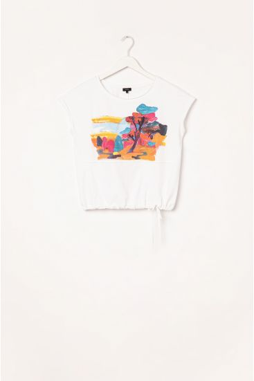 T-shirt z troczkiem