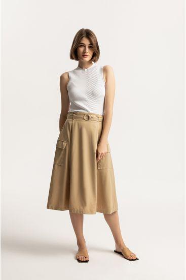 Rozkloszowana spódnica z kieszeniami