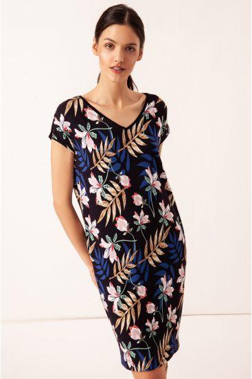 Sukienka z bawełny w roślinny wzór