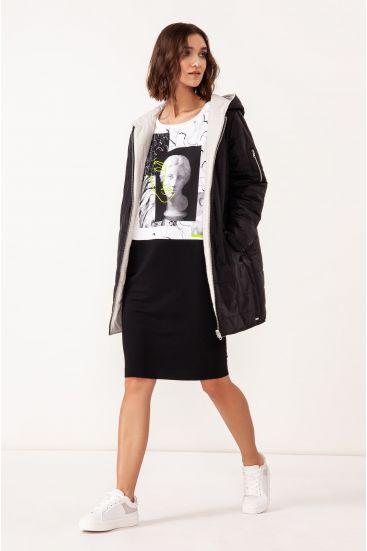Sukienka z graficznym biało czarnym printem