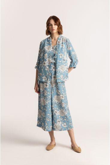 Błękitne spodnie culotte