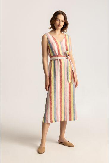 Sukienka z lnu w paski