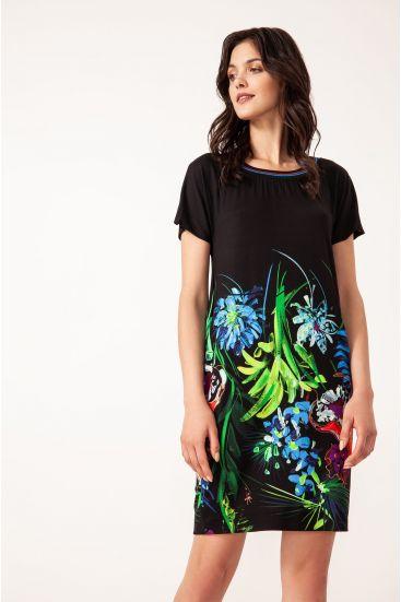 Sukienka mini z kwiatowym nadrukiem