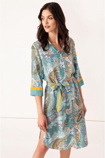 Koszulowa sukienka z wzorem paisley