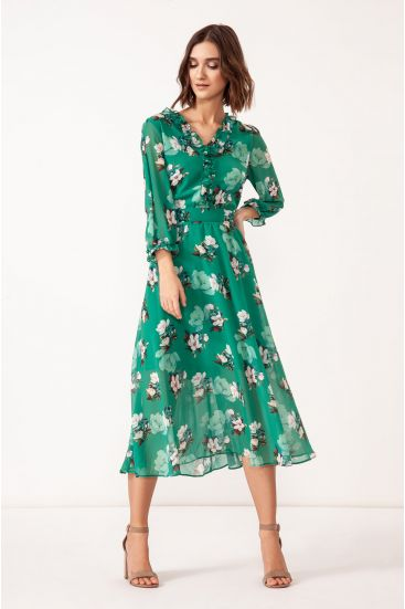 Sukienka midi z printem magnolii