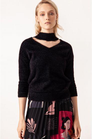 Sweter z dodatkiem błyszczącej nici