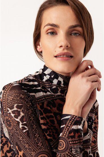 Bluzka ze wzorem patchwork