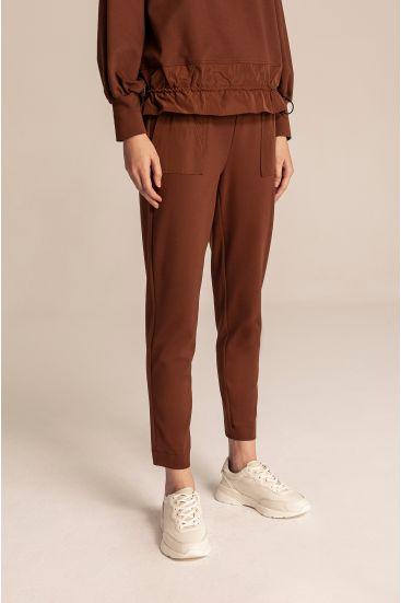 Spodnie z łączonych tkanin
