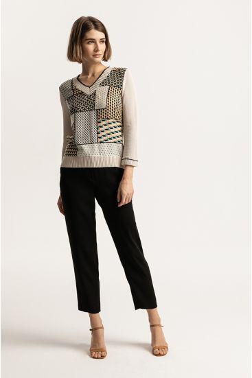 Sweter z łączonych tkanin