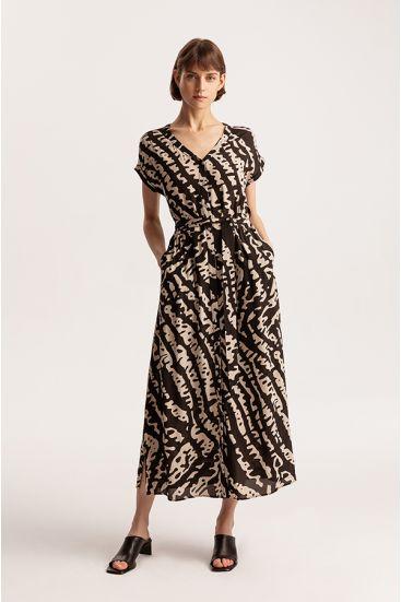 Sukienka z wiskozy z paskiem