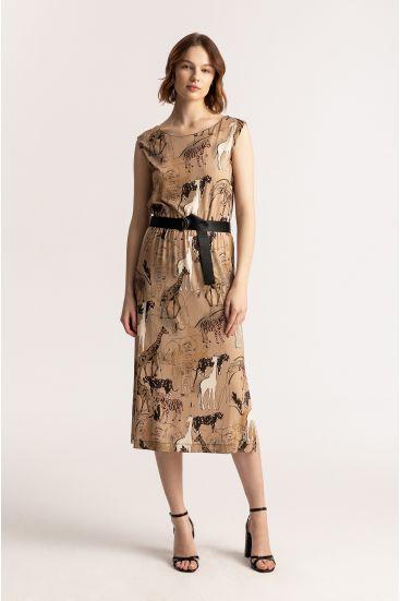Sukienka ze wzorem safari