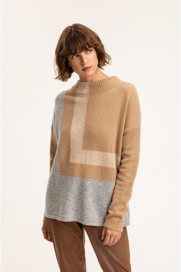 Geometryczny wełniany sweter