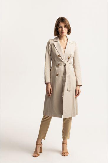 Dwurzędowy płaszcz z paskiem