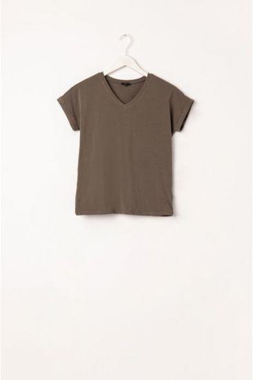 T-shirt z dekoltem v