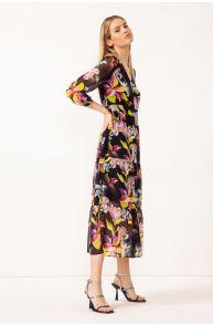 Sukienka maxi z falbanami i dekoltem v