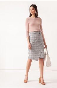 Asymetryczna spódnica w kratę