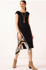 Sukienka midi z łączonych tkanin