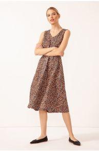 Lniana sukienka z printem
